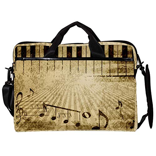 TIZORAX Laptop Messenger Schultertaschen Vintage Music Notes mit Piano Computer Sleeve Notebook-Tragetasche 15-15,4 Zoll Handtasche