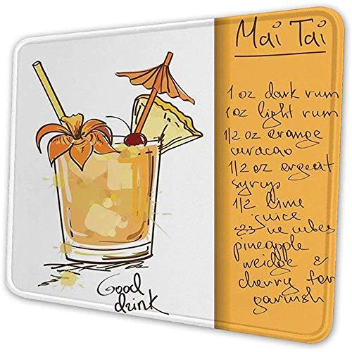Mauspad, Tiki-Bar, handgezeichneter Mai Tai Cocktail in einem Glas Das Rezept Hawaiian Drink, Mousepad Orange