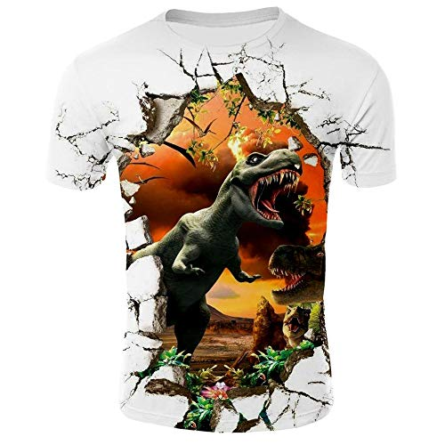 XJXTX Camisetas 3D Cuello Redondo Camisa Manga Unisex Corta Jurassic World XS