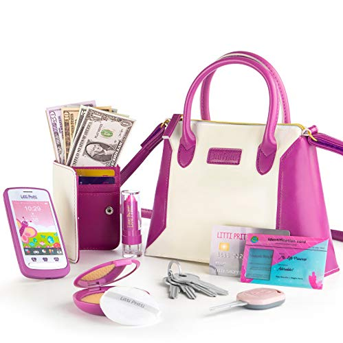 Litti Pritti Princess Toys Little Girls Purses  Pretend Play My First Purse Set  Fashionably Stylish Handbag with Makeup Smartphone Wallet Keys Credit Card Playset Perfect for Girls Ages 3
