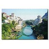 Puente Viejo Mostar Bosnia Rompecabezas para Adultos niños 1000 Piezas Recuerdos de Viaje Juego Educativo Familiar Rompecabezas de Madera Regalos