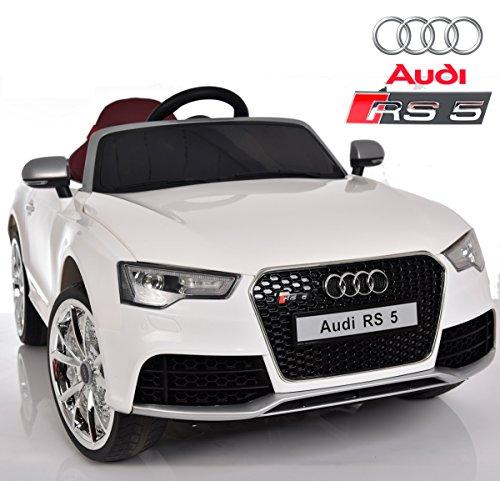 Babycoches compatible con Audi RS5, Licencia Oficial, 12 V, Mando Parental, Neumaticos Caucho, Asiento Ergonomico, Color Blanco
