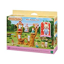 A ropeway park for baby figures. Pull the end of the rope to the left or right to move the gandola There is an adventure playground under the trees Comes with posable Milk Rabbit Baby Sylvanian Families miniature dollhouses, playsets and figures are ...
