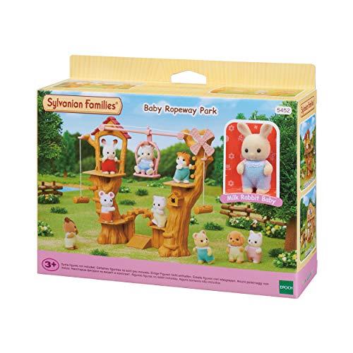 Sylvanian Families - Baby Ropeway Park Jogo com Coelho Bebê Leite, 3+ Anos, Multicor, 5452