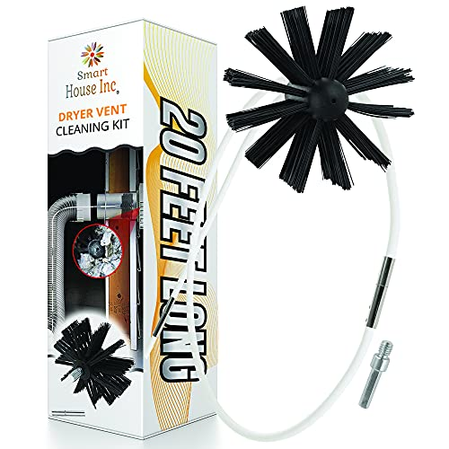 Dryer Vent Cleaner Kit -(20-Feet) Innovative Lint Remover Reusable Strong Nylon| Flexible Lint Brush with Drill Attachment for Faster Cleaning