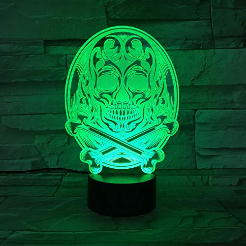 3D Illusion Light-Human Skeleton Halloween Night Light 3D Led Lamp Mood Lamp Decor Lamp Night Light For Kids Game Gifts-Remote Control