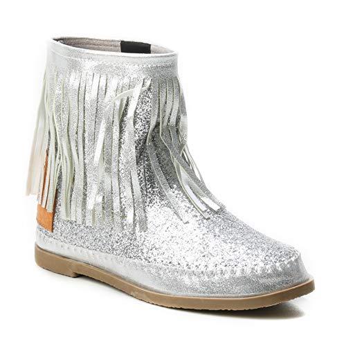 HERIXO Damen Schuhe Stiefel Schlupfstiefel Gold Silber Fransen Mokassin Ibiza Indianer Western-Style Boho Stiefeletten Glitzer Glitter Glanz Metallic (38 EU, Silver)