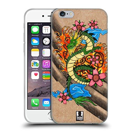 Head Case Designs Zhulong Tatuaggio di Drago Cinese Cover in Morbido Gel e Sfondo di Design Abbinato Compatibile con Apple iPhone 6 / iPhone 6s