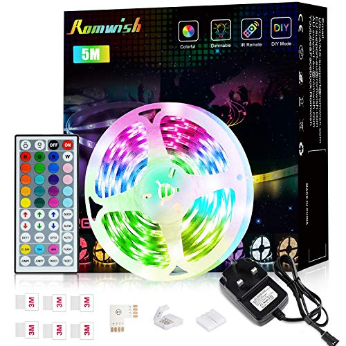 LED Strip Lights with Remote 5M,Romwish Flexible Color Changing Led Lights for Bedroom, 5050 RGB Led Tape Lights with 44key IR Remote, 24V Power Supply RGB Led Light for Room, Bar, TV, Kitchen, Party