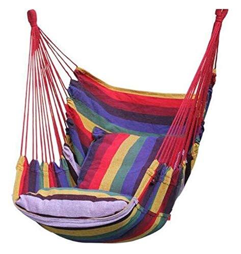 WERTYG Swing Hammock Canvas Chair, Garden Swing Hammock Chair, Indoor Outdoor Hammocks 45x53x100 cm (Color : Rainbow Colors)