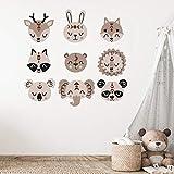 Boho set nueve cabezas de animales | paneles de pared PVC corte de contorno con efecto 3D o pegatinas de corte de contorno | decoración de pared para la habitación del bebé y de los niños