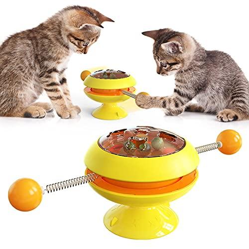 para De Perros Juguetes Accesorios para Mascotas Productos Suministros Juguetes para Gatos Juego Interactivo Antiestrés Swinging Cheerble Catnip Balls M Yellow