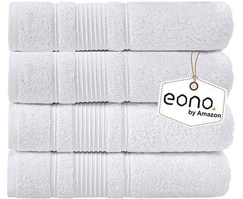 Eono by Amazon, Juego de 4 Piezas de Toallas de baño (28 x 55 Pulgadas)(Blanco Brillante)