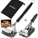 grilljoy 4PC Heavy Duty Safe BBQ Cleaner - Bristle Free& Wire Bristle Grill Brush Head with Scraper in Carrying Bag -...