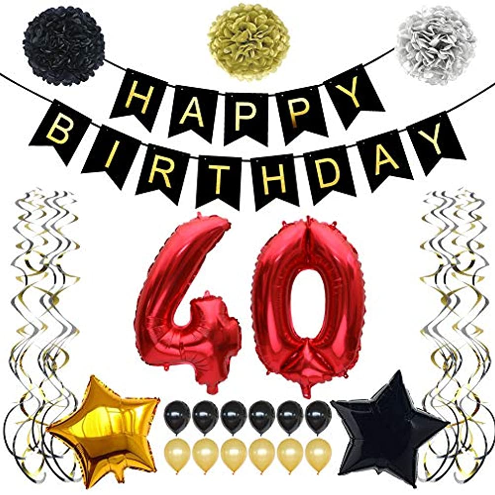 TYLANG 40th Birthday Decorations for Men Women, Black and Gold Birthday Party Decorations Supplies, Happy Birthday Banner 40 Number and Latex Balloons (RED)