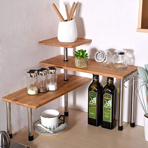 Ollieroo 3 Tier Corner Shelf Bamboo Countertop Organizer Bookshelf Display Shelves Space Saving Rack for Living Room, Kitchen, Office (with Hooks)