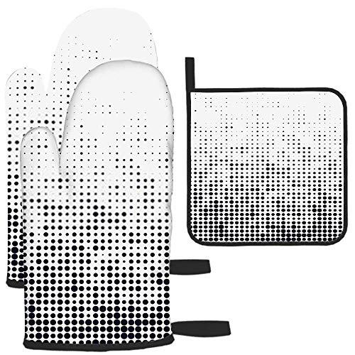 LAVYINGY Lot de 3 maniques et maniques géométriques à pois abstraits, résistants à la chaleur, dessous de plat pour comptoir de cuisine pour micro-ondes, barbecue, cuisson au four à micro-ondes