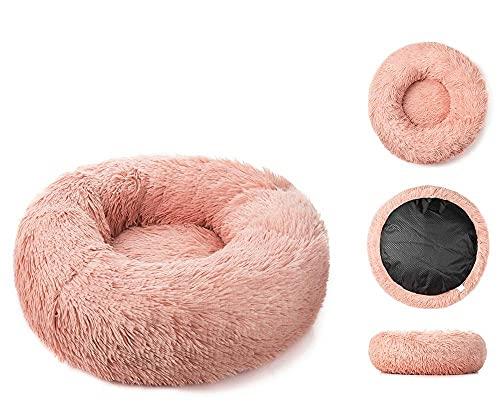 Alfombra para Perros Gato De Felpa Largo Súper Suave para Perros Grandes Cojín Redondo para Casa De Labradores Accesorios para Productos para Mascotas Cuero Rosa M-60Cm