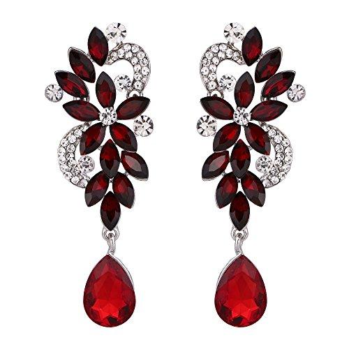 BriLove Women's Wedding Bridal Dangle Earrings Bohemian Boho Crystal Flower Chandelier Teardrop Bling Earrings Ruby Color Silver-Tone