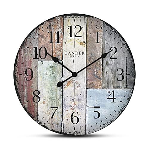 Cander Berlin MNU 7030 - Reloj de pared de tablero DM, silencioso, vintage, 30,5 cm de diámetro, sin el irritante tictac