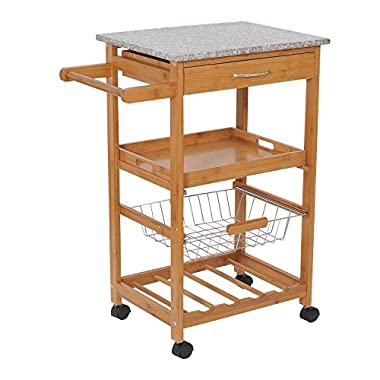 "HOMCOM 31"" Kitchen Island Rolling Storage Cart With Granite Top and Fancy Wine Rack"