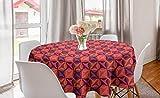 ABAKUHAUS Retro Mantel Redondo, Arte Colorido del Estilo de 1960, con Estampa Digital Decorativa para Comedor o Sala de Estar, 150 cm, Coral púrpura Oscura