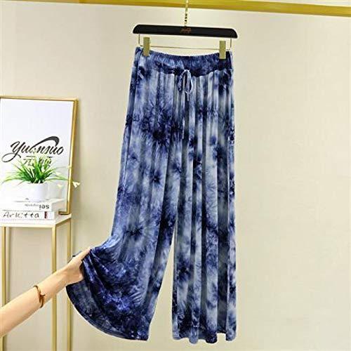 AOZLOVEC Primavera Verano Mujer Pantalones anchos de cintura alta Estampado todo fósforo Bolsillos sueltos Pantalones hasta el tobillo M azul