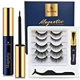 5 Pairs Reusable Magnetic Eyelashes and Eyeliner Kit, Upgraded 3D Magnetic Eyelashes Kit With Tweezers Inside, Best Magnetic Eyeliner and Magnetic Eyelash Kit - No Glue Needed