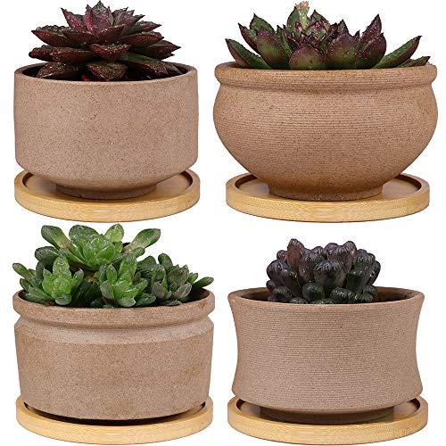 MUZHI Rustic Bonsai Pot Ceramic Succulent Planter with Bamboo Tray Set of 4, Unglazed Cactus Planter Pot Indoor with Drainage Hole 4Inch 5Inch