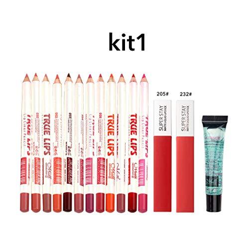 Puff Nail Art Rouge à lèvres Ombres à Paupières Beauté Outils Correcteur,15pcs / coffret cosmétique de combinaison de solvant de lèvre de brillant à lèvres