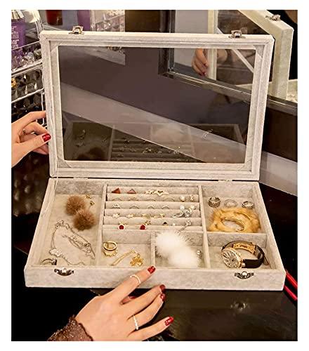 Exquisito Maquillaje Caja de cristal Caja de joyería de terciopelo Bandeja de terciopelo Caja con la tapa de alta capacidad Pantalla Organizador a prueba de polvo para el anillo del pendiente Collar p