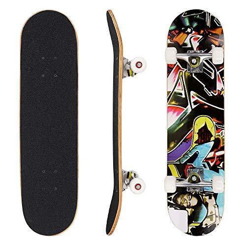 Hikole Skateboard tavola Completa 31 x 8 Pollici con Cuscinetti ABEC-7 Legno di Acero a 9 Strati per Bambini Adolescenti e Adulti, carico 100 kg