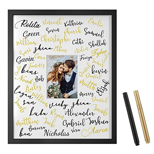 ONE WALL Tempered Glass 16x20 Signature Picture Frame with White Mat Display 5x7 Photo for Wedding, Celebrations and Graduation, Black Wood Frame for Wall - Mounting Hardware Included