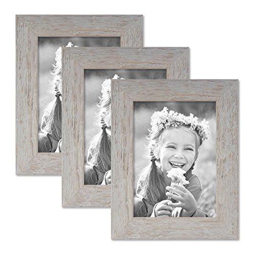 PHOTOLINI 3er Bilderrahmen-Set 13x18 cm Strandhaus Grau Rustikal Massivholz mit Glasscheibe inkl. Zubehör/Fotorahmen