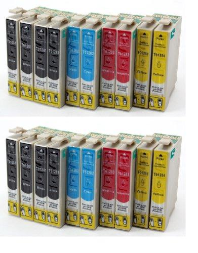 20 Tintenpatronen kompatibel zu Epson T1281 T1282 T1283 T1284 | 8x SCHWARZ & je 4x CYAN MAGENTA GELB | für Epson Stylus Office BX305F BX305FW / Stylus S22 SX125 SX420W SX435W SX425W