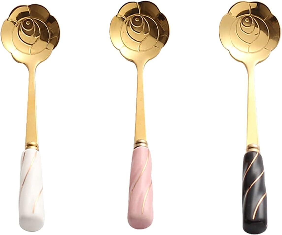 Soup Spoons 3 -Piece Creative Max 40% Dallas Mall OFF Floral Small Spoon Dessert - Desse