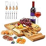 Utoplike Käsebrett mit Messerset, Bambus Charcuterie Platte Serviertablett, große Käseplatte perfekt für Geburtstag, Einweihung & Hochzeit
