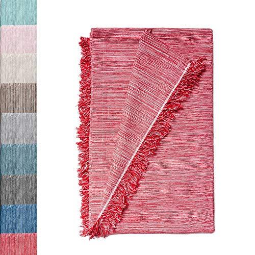 Colcha Multiusos: Plaid Sofa, Manta Foulard, Cubre Cama, Foulard para Sofas de Algodón y Otras Fibras Acabado de Calidad Fabricado en España. (Rojo Jaspeado, 180x260cm.)