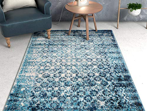 Well Woven Cheshire Blue Moroccan Lattice Vintage Modern Casual Traditional Trellis 100 x 140 cm (3'3' x 4'7' ft) Area Rug Thick Soft Plush Shed Free