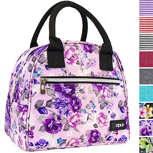 OPUX Lunch Box for Women | Insulated Lunch Bag for Women Girls| Medium Reusable Soft Flower Lunch Tote Purse Cooler for School, Work, Office | Fits 12 Cans (Floral Purple)