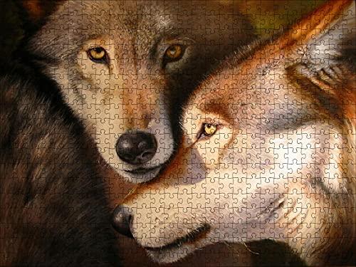 LHJOY puzzel för pussel för vuxna 1000 bitar Två munsar av vargar i djur Födelsedagspresent och semestergåva för barnflickor 75x50cm