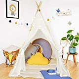 ATDAWN Teepee Tent for Kids with Star Fairy Lights, Natural Cotton Canvas Foldable Kids Teepee Play Tent Playhouse Toys for Kids Child Indoor Outdoor Play