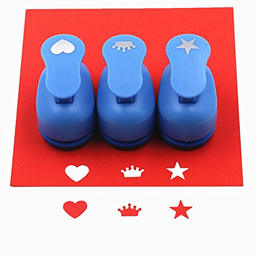 CADY Crafts Punch Set 5/8-Inch Paper Punches 3pcs/Set (Heart. Crown. Star)