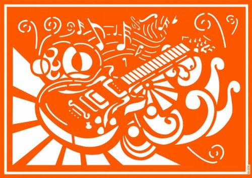 Kreul 92519 - Textil Schablone selbsthaftend Rock'n Roll