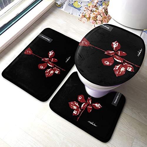 De-Peche Mo-de Badematte-Set Badematte und U-förmiger WC-Teppich mit rutschfestem selbstklebenden Badteppich für Bodenwanne Dusche Schlafzimmer Maschinenwaschbar 40 x 60cm
