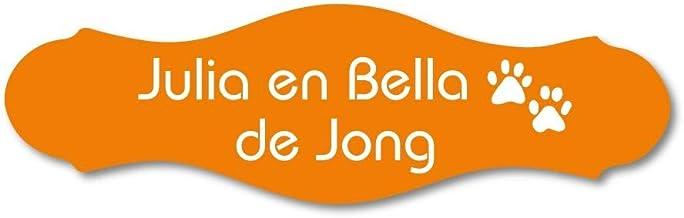 Naamplaatje oranje sierlijk t.b.v. brievenbus, 12x4 cm