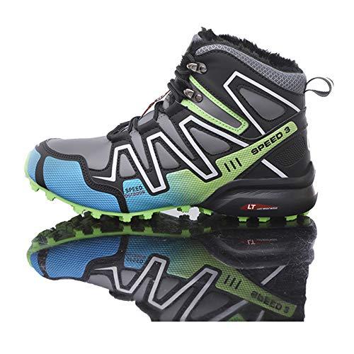 Scarpe da Escursionismo da Uomo Outdoor Casual Lace Up Inverno Caldo Peluche Stivali da Neve da Arrampicata Scarponi da Trekking Sportivi di Grandi Dimensioni Sneaker