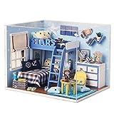 LEMOGO DIY Holz Puppenhaus Handwerk Miniatur Kit - LED Schlafzimmer Modell & alle Möbel -