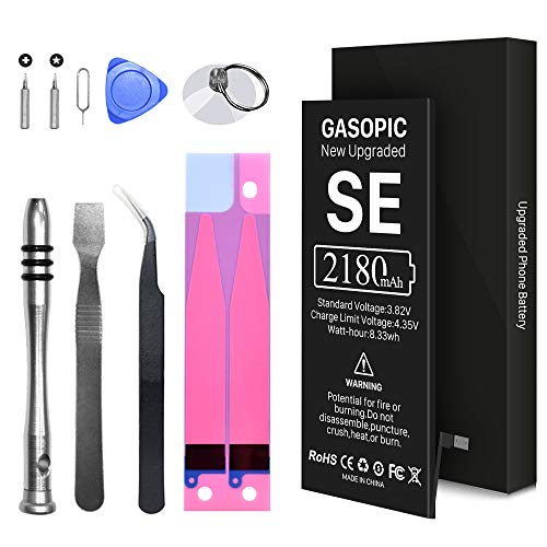 [2180mAh] Battery for iPhone SE, Upgraded New 0 Cycle Higher Capacity Replacement Battery, with Professional Repair Tool Kit and Instructions - [2 Year Warr]