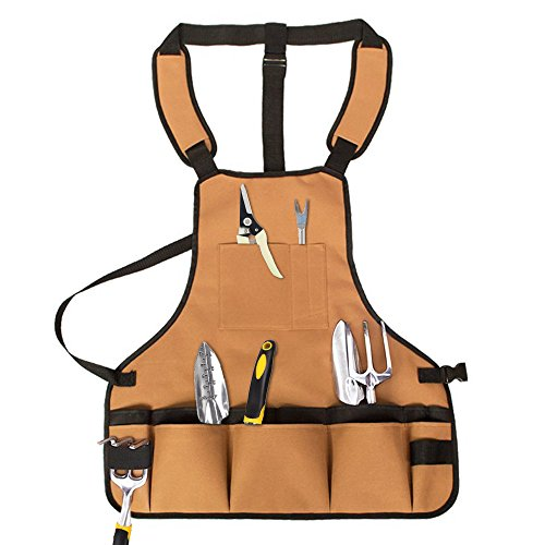 YOCZOX Garden Tool Apron, Waterproof Oxford Cloth Work Apron with 15 Tool Pockets, Wear-Resistant and Durable Apron Cross-Back Straps & Adjustable up for Men & Women (Khaki)